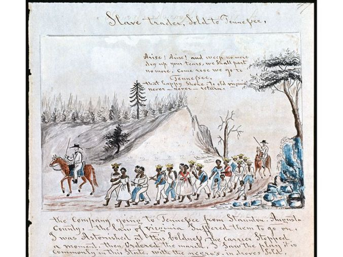 Slave traders marching a coffee of slaves from Virginia west to Tennessee, ca. 1850. Courtesy, Abby Aldrich Rockefeller Folk Art Museum, Colonial Williamsburg Foundation, Williamsburg, Virginia