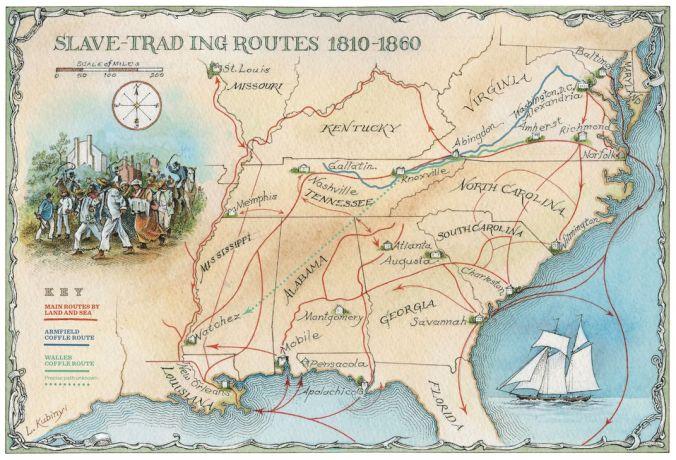 Illustrated map by Laszlo Kubinyi. Map sources: Digital Scholarship Lab, University of Richmond; Edward Ball; Guilbert Gates; Dacus Thompson; Sonya Maynard). Originally published in Smithsonian Magazine