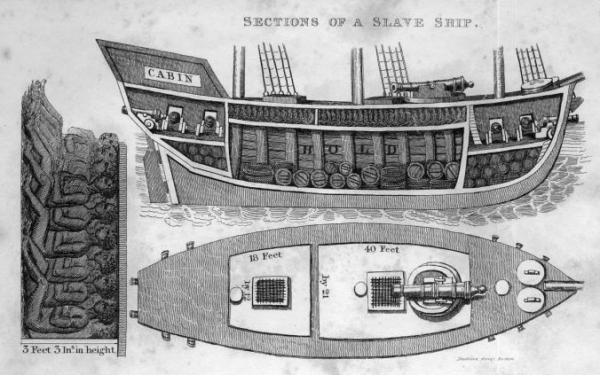 Cross section of a slaver ship. From Robert Walsh, Notices of Brazil in 1828 and 1829 (London, 1830), vol. 2, p. 479