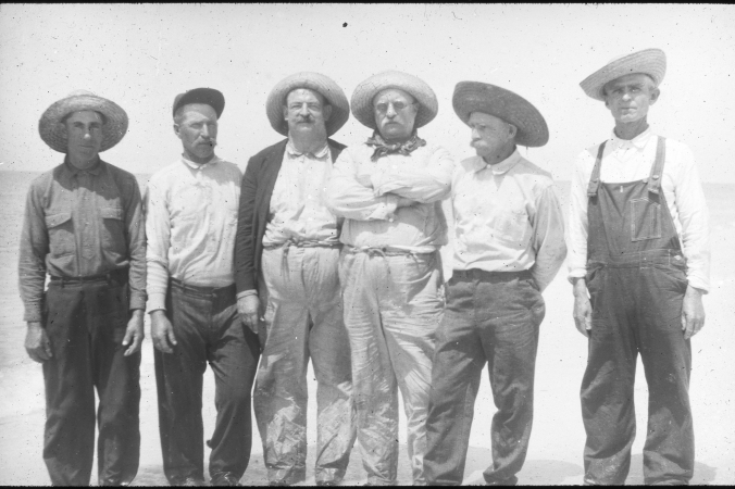 This is a rare photograph that includes all of Russell Coles' regular crew from Morehead City, N.C.: (left to right): Roland Phillips, Capt. Charlie Willis, Coles, Teddy Roosevelt, Capt Jack McCann (a Florida fisherman we'll hear more about later) and Mart Lewis. The picture was taken near Punta Gorda, Fl. in 1917.