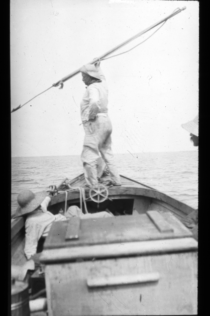 Teddy Roosevelt posing with harpoon in the bow of Capt. Jack McCann's flat-bottom skiff. Photo courtesy, Walter Coles, Sr., Chatham, Va.