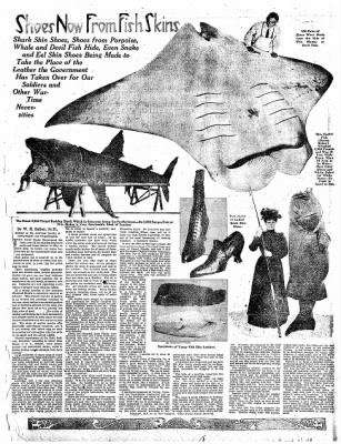 """Shoes now from Fish Skins."" Articles like this appeared in newspapers across the U.S. in 1918. From The Tennessean (Nashville, Tenn.), July 7, 1918."