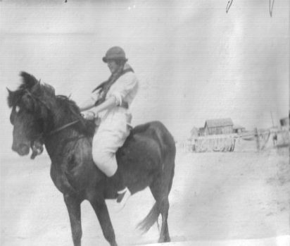 "Coles' diaries and letters also give us a rare view of Cape Lookout in the early 1900s. This photograph is from ca. 1915 and is labeled, ""Theresa on wild pony."" Courtesy, Walter Coles, Sr."