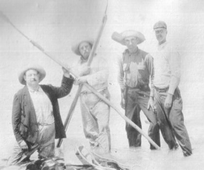 Left to right: Russell Coles, Teddy Roosevelt, Mart Lewis and Roland Phillips. Captiva Island, Fl., 1917. Courtesy, Walter Coles, Sr., Coles Hill, Va.