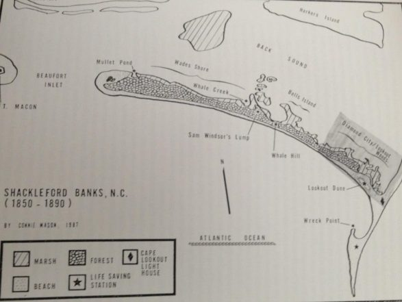 Map of Shackleford Banks and Cape Lookout, 1850-1890, before the height of the migration off the island. The largest settlement, with perhaps as many as 500 residents, was Diamond City on the island's east end. Map by Connie Mason. Courtesy, National Park Service