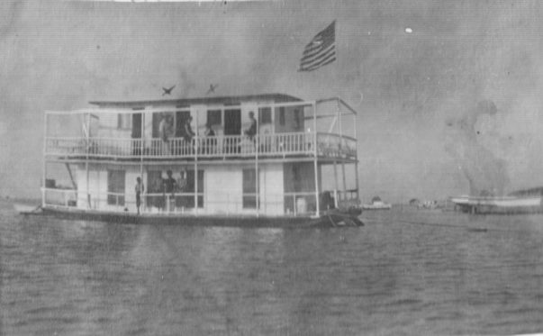 Coles purchased a new houseboat sometime around 1918, putting aside the old sailing vessel the Edna G. Photo courtesy, Walter Coles, Sr., Coles Hill, Va.