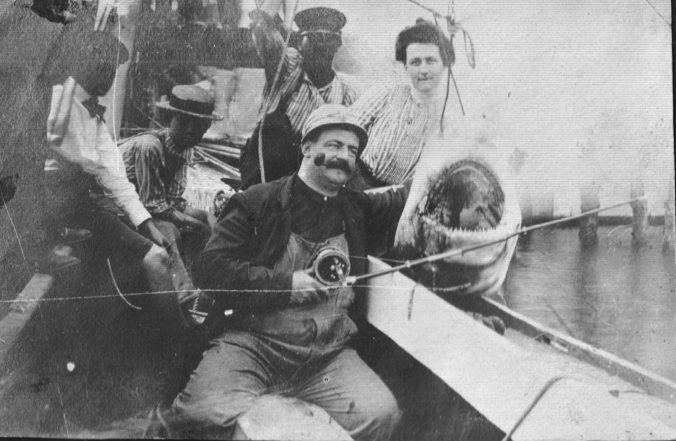 Russell Coles was still doing a little shark hunting with rod and reel in the early 1920s. Courtesy, Walter Coles, Sr., Coles Hill, Va.