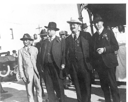 "Left to right: Capt. Charlie Willis, Teddy Roosevelt, Russell Coles and probably A. A. ""Gus"" Rice, Punta Gorda, Fl., 1917. From Vernon Peeples Collection, Punta Gorda History Center"
