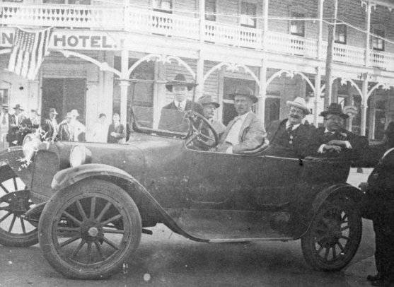 "Left to right in the car: A.A. ""Gus"" Rice (probably), Capt. Charlie Willis, unidentified driver, Russell Coles and Teddy Roosevelt, Punta Gorda, Fl., 1917. From the Vernon Peeples Collection, Punta Gorda History Center"