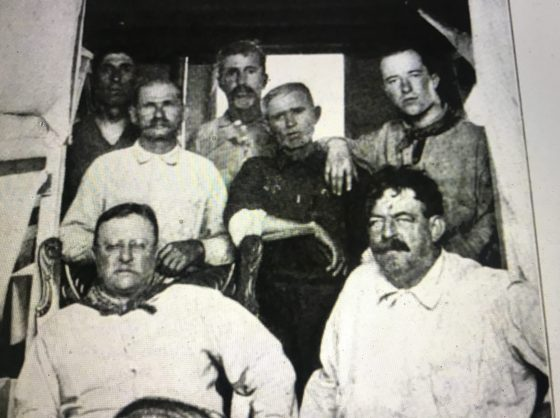 Capt. Jack McCann, Capt. Charlie Willis, Roland Phillips and Gus Rice. Seated: Teddy Roosevelt and Russell Coles. From Scribner's Magazine vol. 62, #1 (July 1917).
