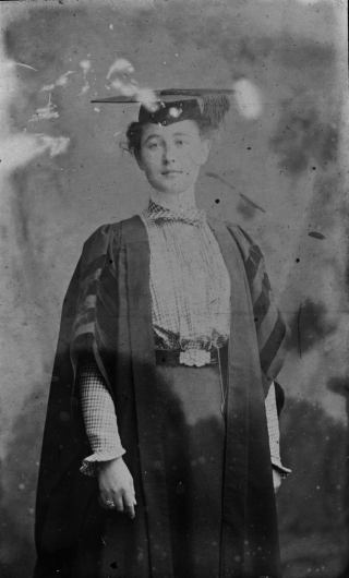 Maud Menten in her cap and gown. Courtesy, Kirby Historic Site, Harrison Landing, BC