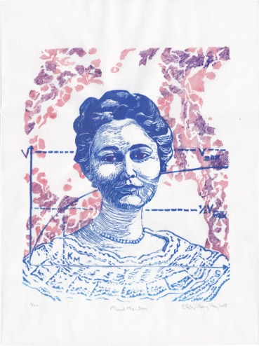 A new generation of women scientists and iconoclasts of all kinds have been re-discovering Menten. Maud Menten, linocut, by Ele Willoughby, 2018.