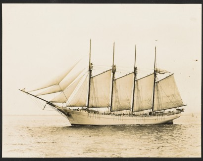 The German submarine U-140 sank the 4-masted coal schooner Stanley M. Seaman 128 miles off Cape Hatteras, N.C., on Aug. 5, 1918. Photo courtesy, Historic New England.