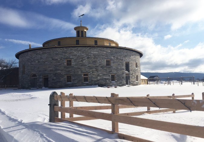 The Shaker round barn was built in 1829 to house diary cows. The shakers operated a diary farm there into the 1950s. Photo courtesy, Hancock Quaker Village