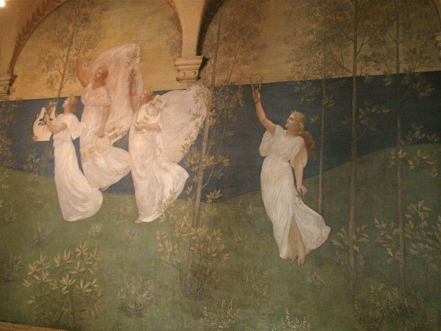 """The Muses of Inspiration hail the Spirit, the Messenger of Light"" is one of eight mural panels by the French painter Pierre Puvis Chavannes in the Boston Public Library. Courtesy, Boston Public Library"