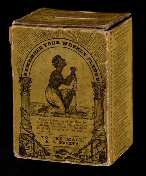 Cardboard collection box for donations to the Massachusetts Anti-Slavery Society, 1839. Courtesy of the Trustees of the Boston Library/Rare Books, Boston, Massachusetts.