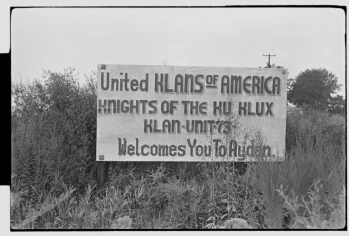 Klu Klux Klan sign on road into Ayden, N.C., 25 miles from Ernul, Aug. 29-30, 1966. From the Daily Reflector Image Collection, ECU Digital Collections