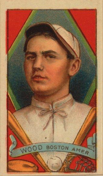 Baseball card for Smoky Joe Wood (American Tobacco Company, 1912).