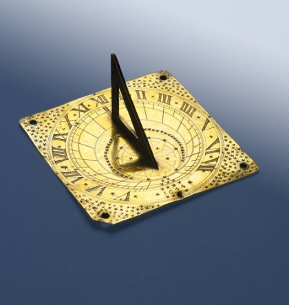 Brass sundial, ca. 1644. The original owner, John Proctor, was one of the victims of the Salem witch trials. He was hung for witchcraft on Aug. 19, 1692. His and his wife Elizabeth's story is told in Arthur Miller's play, The Crucible. Photo courtesy, Peabody Essex Museum