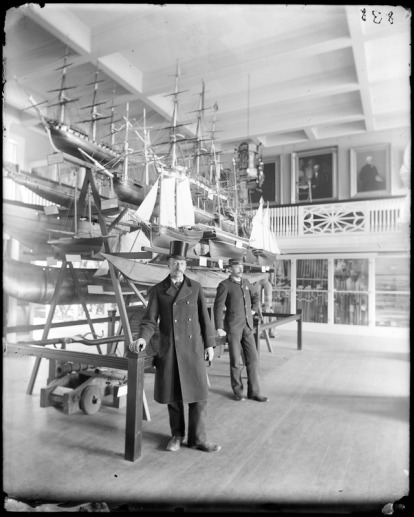 John R. Treadwell, janitor, and a local constable ,John J. Connors, at the Peabody Museum (an earlier name for the Peabody Essex Museum), early 1900s. Courtesy, Phillips Library, Peabody Essex Museum