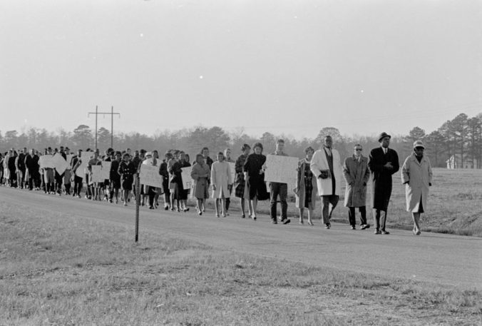 Civil rights march in Bear Grass, a rural community 20 miles from Greenville, 1963. Courtesy, Joyner Library, ECU