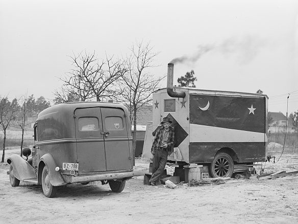 Near Fayetteville, N.C., 1941. These construction workers were living in a trailer that they had bought from a fortune teller at a circus. They came from West Virginia to work at Ft. Bragg. Photo by Jack Delano. Courtesy, Library of Congress