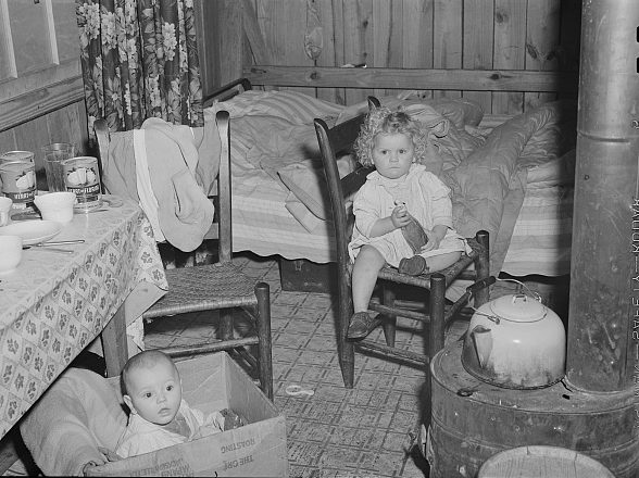 Near Fayetteville, N.C., 1941. A family of four had converted this tobacco barn's loft into a home. Photo by Jack Delano. Courtesy, Library of Congress