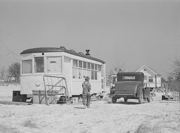 Near Fayetteville, N.C., 1941. A family of four was living in this old streetcar. Photo by Jack Delano. Courtesy, Library of Congress