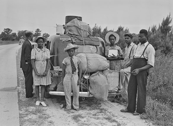 Near Shawboro, N.C., 1940. Having finished the potato harvest there, this group of Florida migrant laborers was headed to pick crops in New Jersey. Photo by Jack Delano. Courtesy, Library of Congress