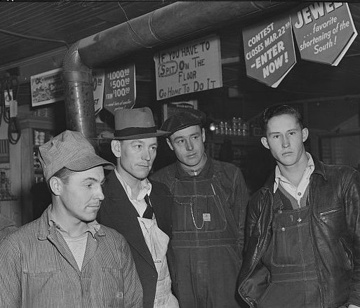 Fort Bragg construction workers at a country store, probably in Manchester, N.C., 1941. Photo by Jack Delano. Courtesy, Library of Congress