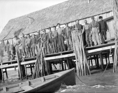 Fishermen at Barn Slue (or Barney Slough) fish camp near Hatteras Island, N.C. Photo by H. H. Brimley, ca. 1905. Courtesy, State Archives of North Carolina
