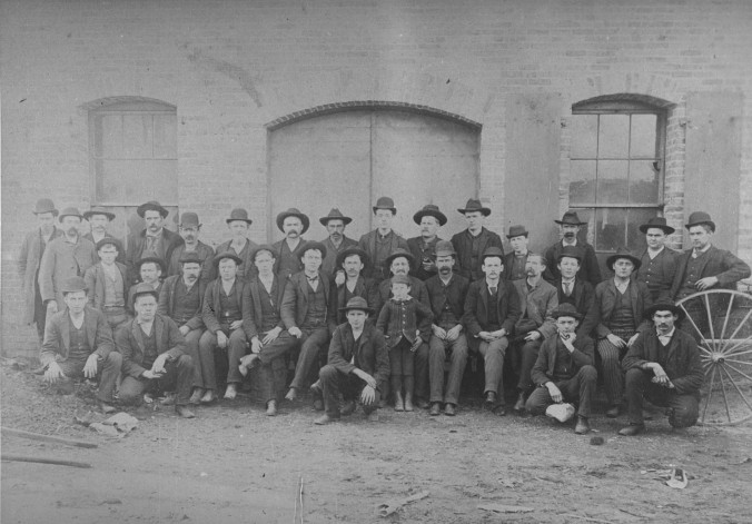Hackney Brothers employees, ca. 1889. Evidently the company did not employ African Americans at that time. Many-- and maybe all-- local factories did not at that time in tacit deference to local white farmers who did not want factory jobs to compete with them for black labor. Courtesy, NC Collection, Barton College.