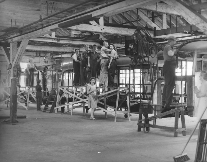 Facing a manpower shortage during WW II, the Hackney factory also employed women workers to do jobs that before the war had been reserved for men. Courtesy, NC Collection, Barton College