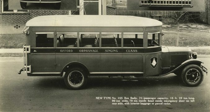 The Hackney Co. built buses mostly for public schools, but also built buses for speciality uses as college sports teams, county fairs, sanatoriums and this smaller, 21-passenger bus for the Oxford Orphanage in Oxford, N.C. Courtesy, NC Collection, Barton College