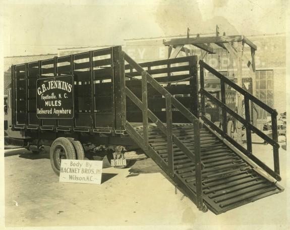 Hackney-built mule hauling trailer, ca. 1927. Courtesy, NC Collection, Barton College