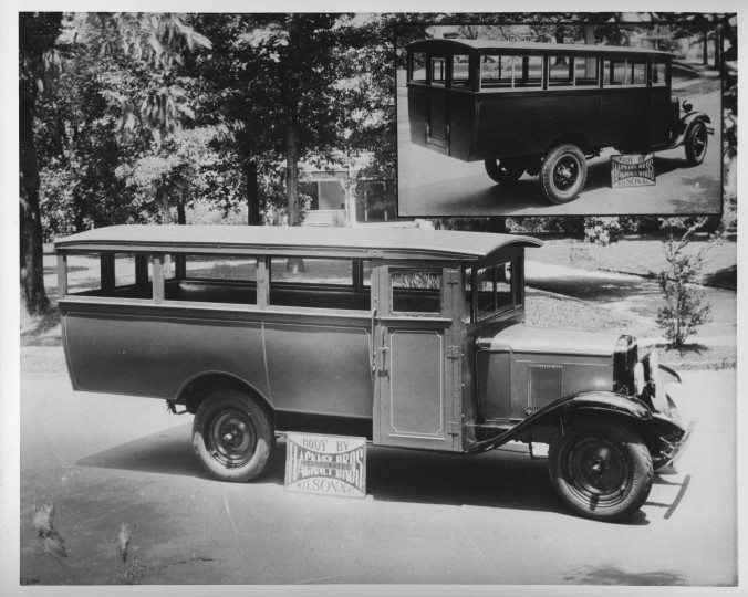 One of the Hackney Co.'s earliest school bus bodies, ca. 1930. Many African American communities purchased buses like this in the 1930s, when local school boards refused to provide public transport for black children to high schools (even though they nearly always did for white children). The parents would chip in and pay the cost of the bus and driver or pay a monthly fee. In Harlowe, in Craven Co., for instance, my African American cousin Rudolph Godette did this so that local black children could attend the Queen Street School in Beaufort. Many of those privately-owned and -operated buses later carried black defense and construction workers to military bases during the Second World War. Photo courtesy, NC Collection, Barton College