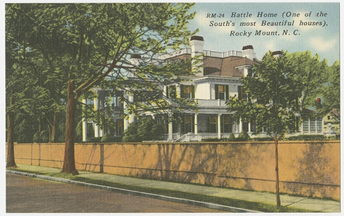 Postcard of the T. J. Hackney house, Rocky Mount, N.C. Thomas J. Hackney was the son of the Hackney Co.'s founder and established the Hackney Bros. factory in Rocky Mount. The house was built for him ca. 1900 bu was later owned by Hymen Battle (hence the caption on the postcard), the president of Rocky Mount Mills. Courtesy, North Carolina Collection, University of North Carolina Library