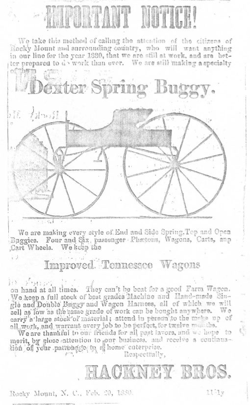 Ad for the Hackney Bros. Dexter spring buggy (Rocky Mount Progress, 19 Mar. 1880.) Courtesy, N.C. Collection, Willis N. Hackney Library, Barton College