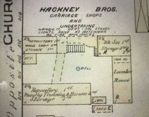 The Hackney Bros. Carriage Shops, Rocky Mount, N.C. Detail from Sanborn Fire Insurance Map from Rocky Mount, Edgecombe and Nash Counties, N.C. (May 1885). Courtesy, Library of Congress Geography and Map Division, Washington, D.C.
