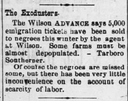 Wilson Advance, 30 Jan. 1890. This notices come to me courtesy of one of my favorite historian's blogs-- Lisa Y. Henderson's Black Wide-Awake