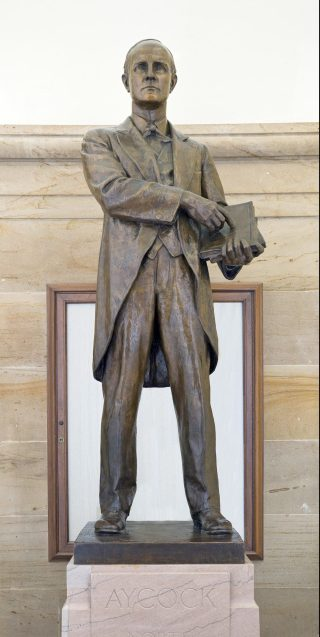 Bronze statue of Charles B. Aycock at the U.S. Capitol, Washington, DC. After leading the white supremacy campaigns of 1900, Aycock became the single-most lauded political figure in North Carolina history. Courtesy, Architect of the Capitol