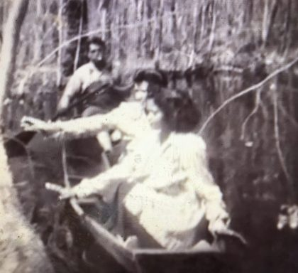 """Historical photograph of members of the Coharie Tribe on the Great Coharie River. From """"The Coharie Tribe: Soil, Sorghum and Sovereignty"""""""