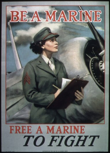 Marine Corps Women's Reserve recruiting poster, World War II. By the end of 1944, more than 15,000 Women Marines were performing over 200 different kinds of assignments in the Marine Corps. Courtesy, National Archives