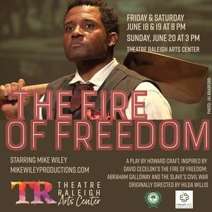 You can see a wonderful theatrical telling of Abraham Galloway's life at the Theatre Raleigh Arts Center in Raleigh from June 18 to 20th. Written by Howard Craft and starring Mike Wiley, the play is based on my book The Fire of Freedom.