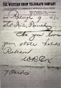 Telegram from W. R. Cox to W. Foster French, 1875, Reconstruction Papers (N.C.), P.C. 872, State Archives of North Carolina