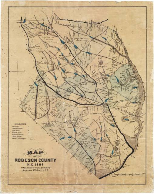 """John McDuffie, """"Map of Robeson County"""" (1884). Courtesy, State Archives of North Carolina"""