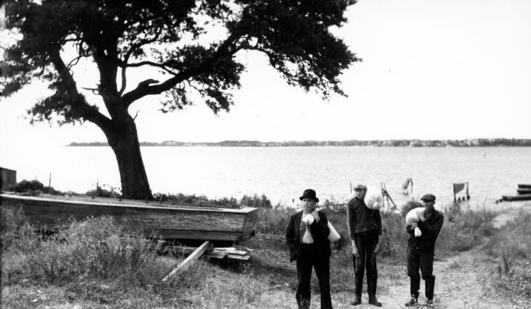 """Ginny's """"Pappy,"""" her grandfather Louis L. Midgett (on left), at Moore Landing in Sneads Ferry. """"One of the best men of all the good men I have known and still know in my long life on this earth,"""" she once wrote me. He and the other two, unidentified men are carrying bags of cornmeal on their shoulders. According to Ginny, they've just come across the river from the village of Marines, where they had the corn ground at Ollie Marines' mill. At that time, Sneads Ferry did not have a mill. Photo by Charles A. Farrell. Courtesy, State Archives of North Carolina"""
