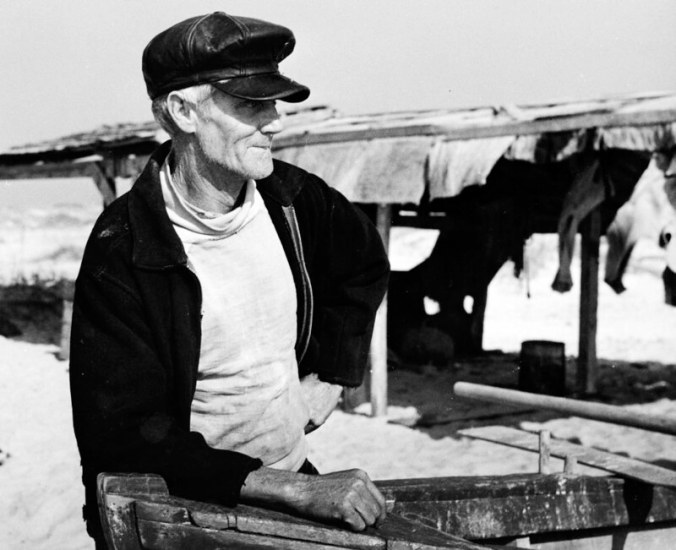 Mullet fisherman, Bald Head Island, N.C., 1938. Photo by Charles A. Farrell. Courtesy, State Archives of North Carolina