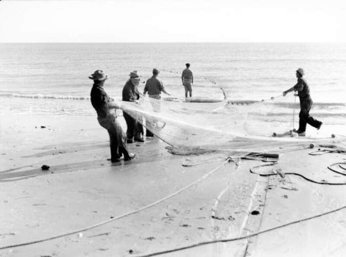 Mullet fishermen, Bald Head Island, N.C., 1938. Photo by Charles A. Farrell. Courtesy, State Archives of North Carolina