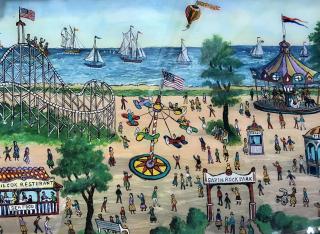 Milton Bond, CT Savin Rock Amusement, ca. 1940? Reserve glass painting. Image from Westport River Gallery, Westport, Conn.